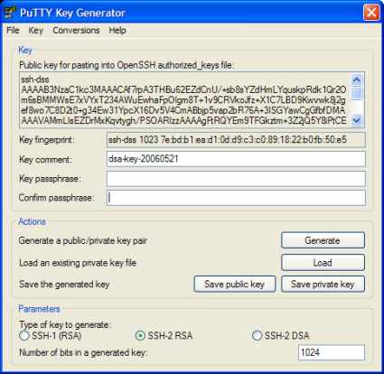 Screenshot PuttyGen