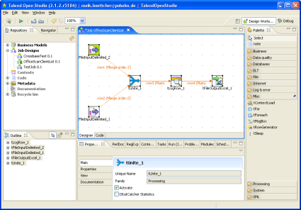 Screenshot: Talend Open Studio